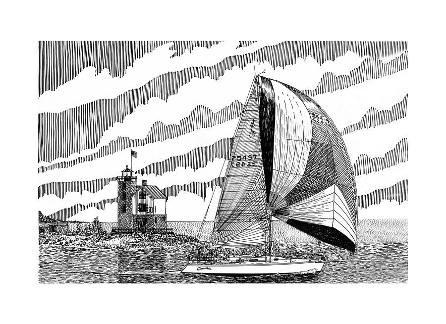 Holland Harbor Lighthouse And Spinaker Flying Sailboat Drawing