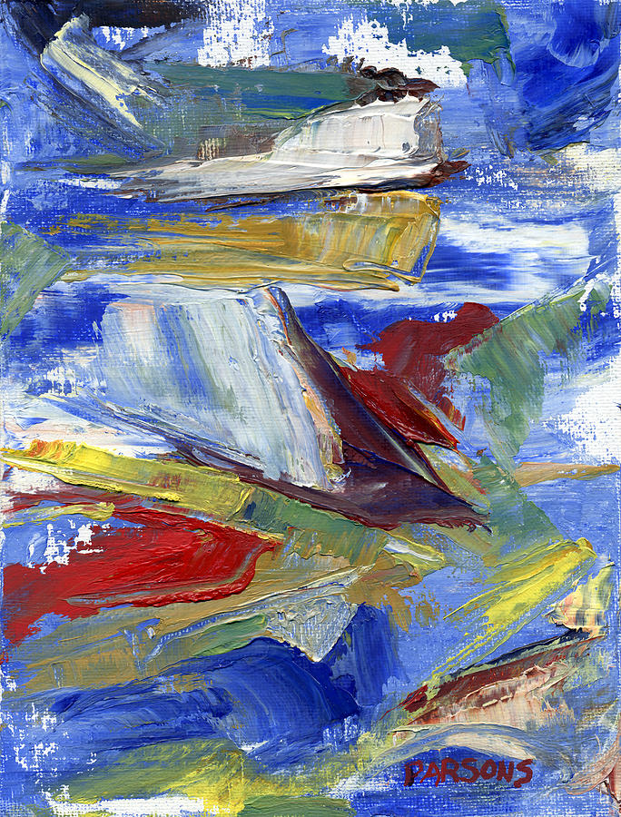 Abstract Painting - Sailing by Pamela Parsons