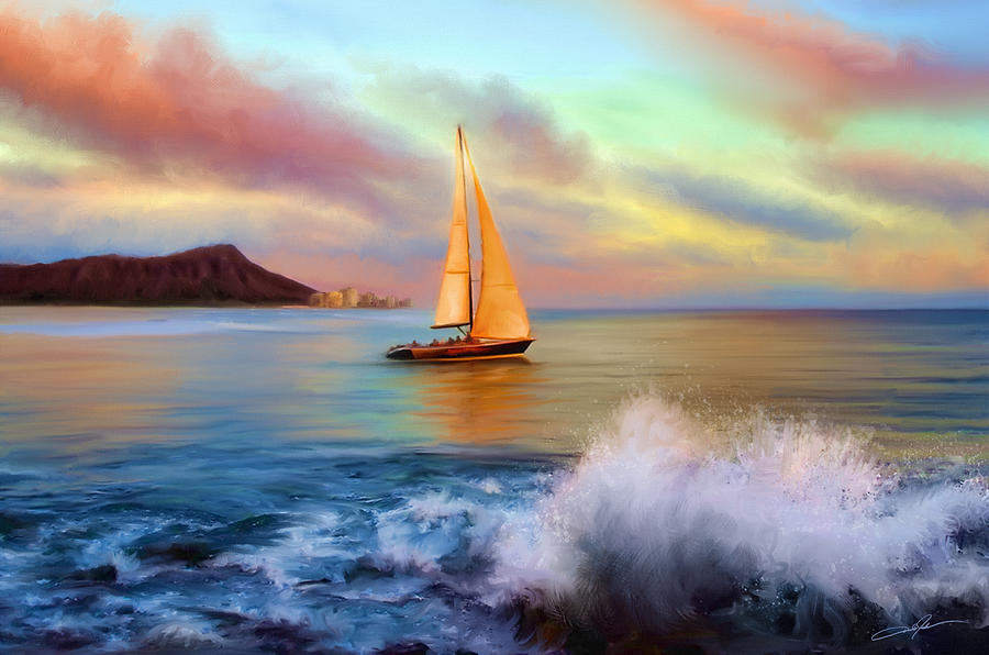 Sailing Past Waikiki Digital Art  - Sailing Past Waikiki Fine Art Print
