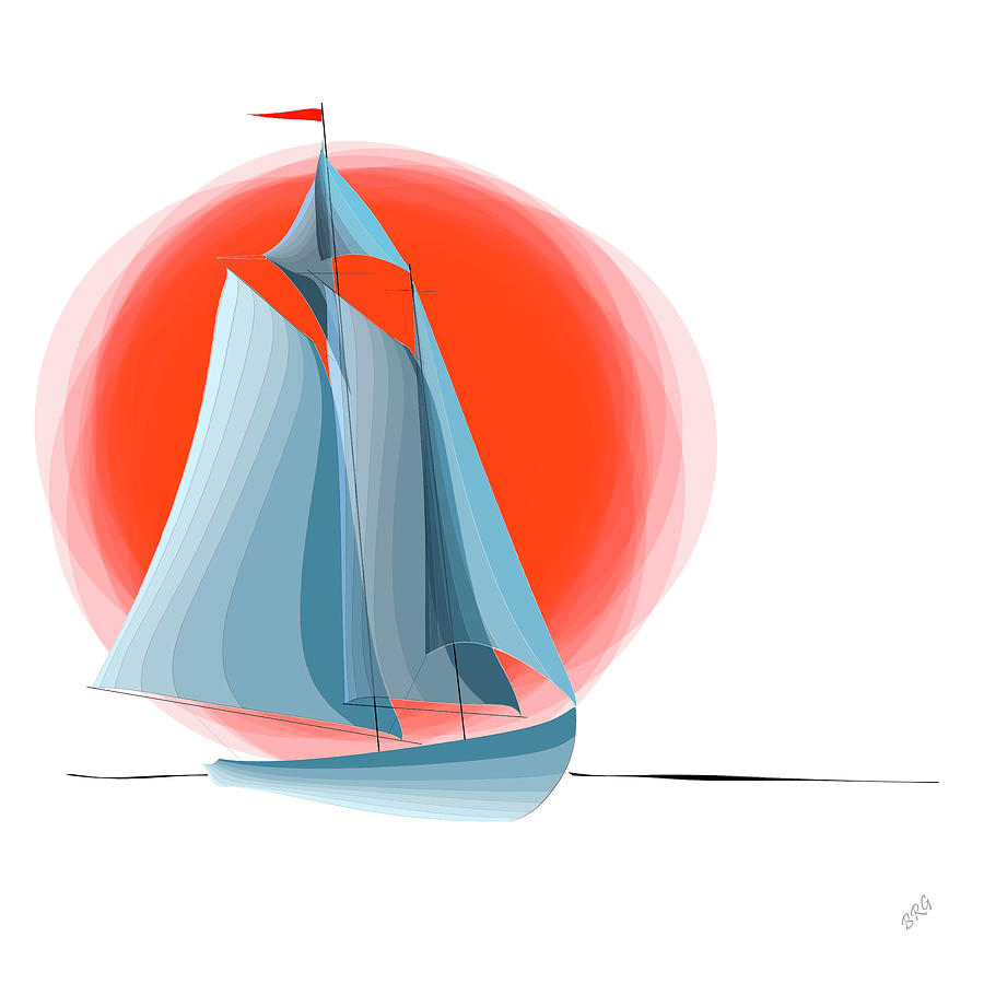 Sailing Red Sun Digital Art  - Sailing Red Sun Fine Art Print