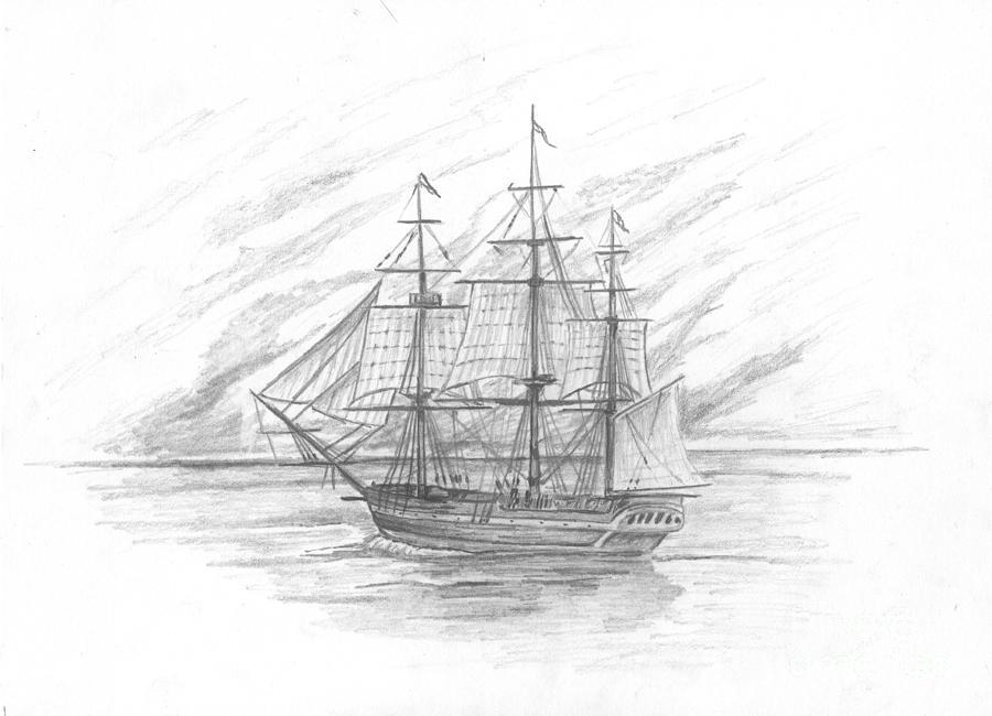 Naval Drawing - Sailing Ship Enterprise by Michael Penny