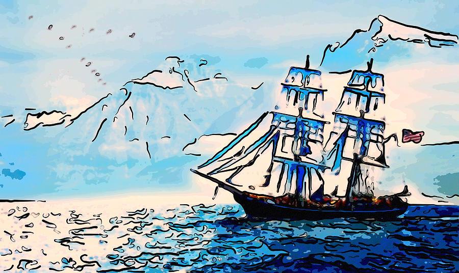 Sailing South 3 Painting