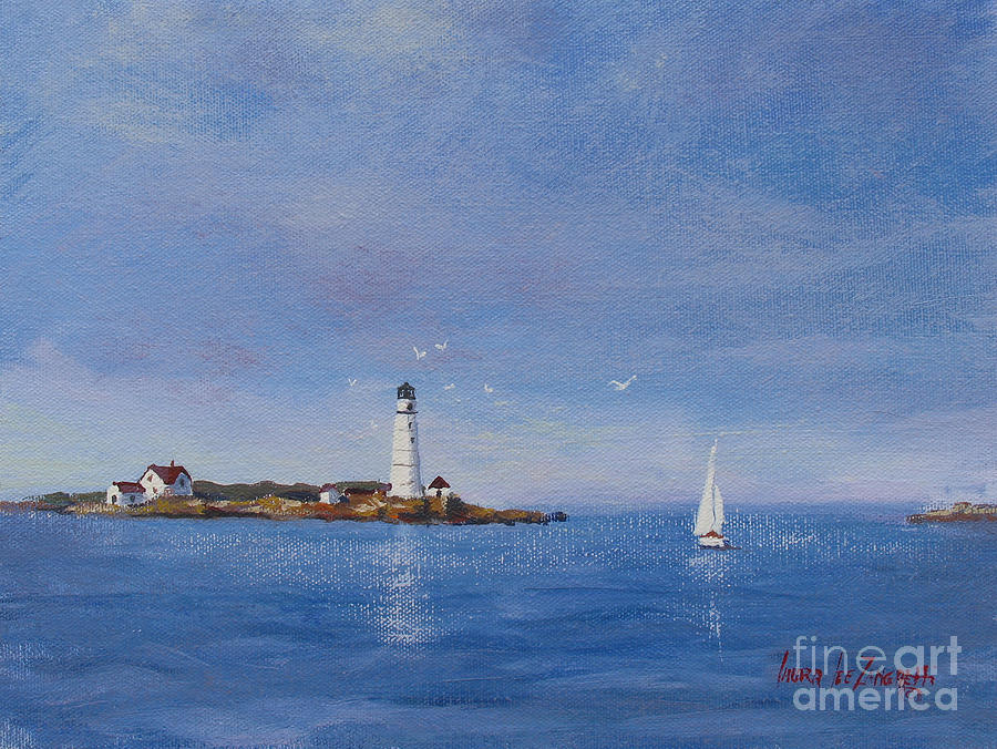 Sailing To Boston Light Painting  - Sailing To Boston Light Fine Art Print