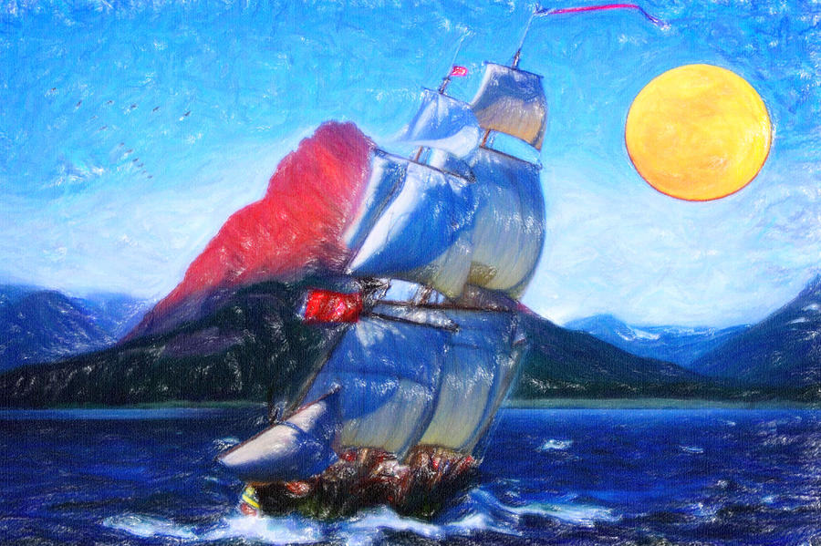 Sailing Towards High Peaks Crayon Painting