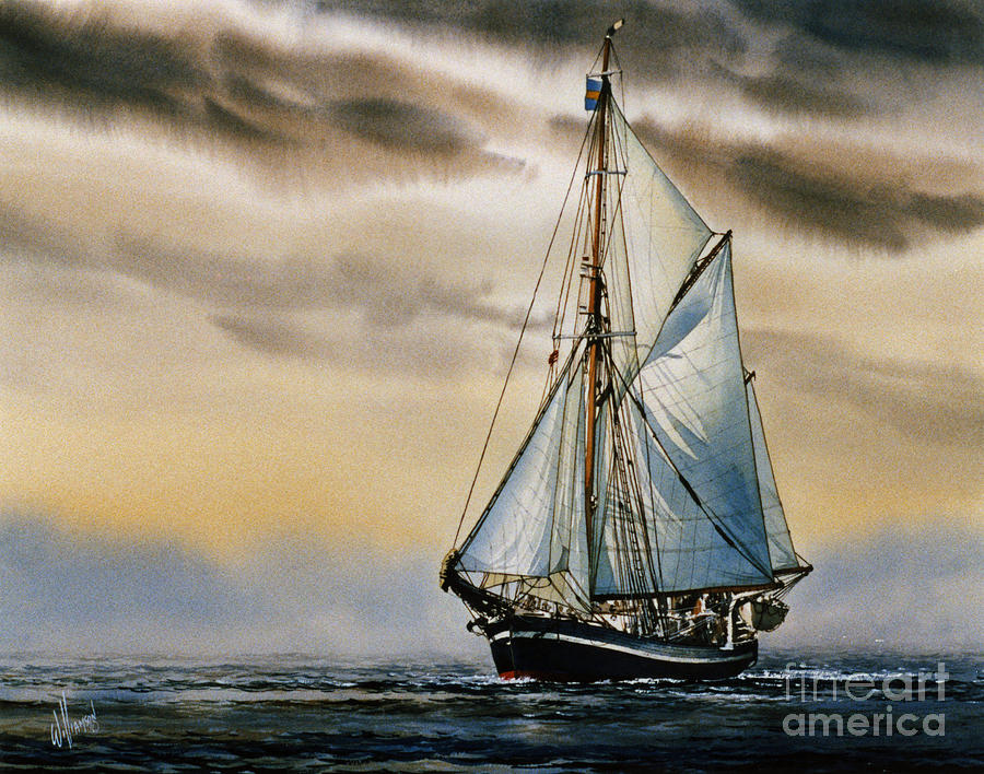 Tall Ship Print Painting - Sailing Vessel Seute Deern by James Williamson