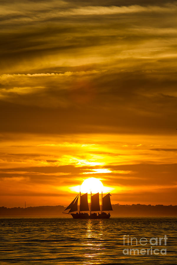 Sailing Yacht Schooner Pride Sunset Photograph - Sailing Yacht Schooner Pride Sunset by Dustin K Ryan