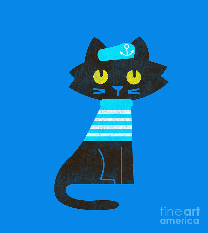 Sailor Cat Digital Art  - Sailor Cat Fine Art Print