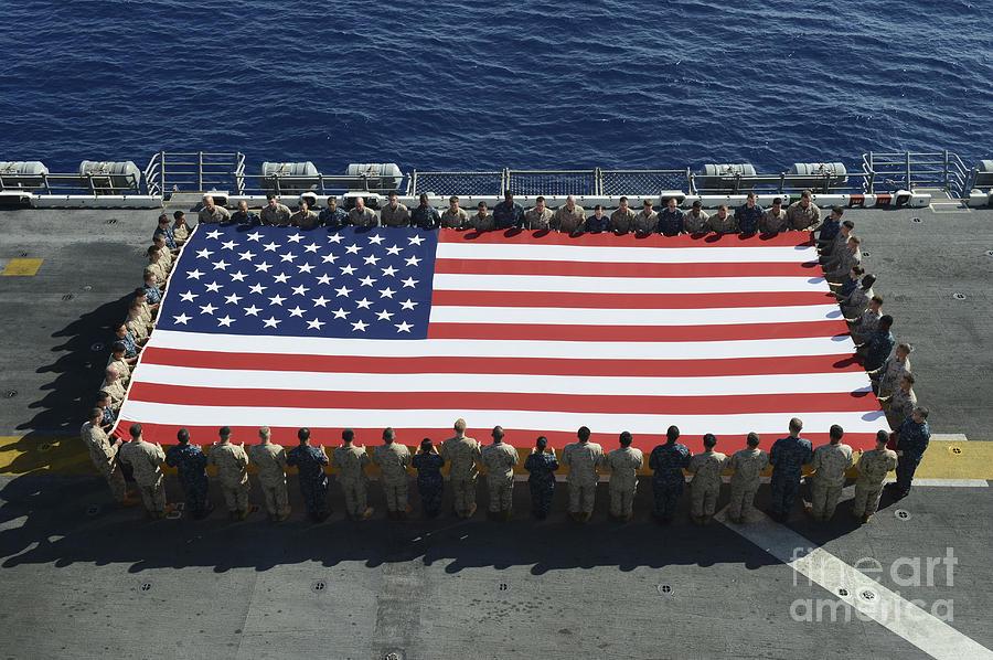 Horizontal Photograph - Sailors And Marines Display by Stocktrek Images
