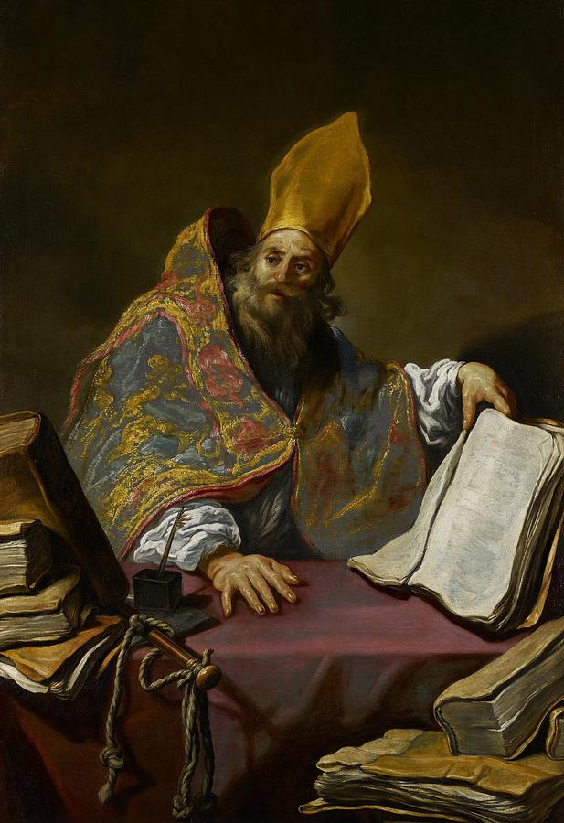 St. Ambrose; Saint; Male; Bishop Of Milan; Portrait; Vestments; Mitre; Reading; Book; Doctor; Catholic Church; Christian; Christianity; Robes; Books Painting - Saint Ambrose by Claude Vignon