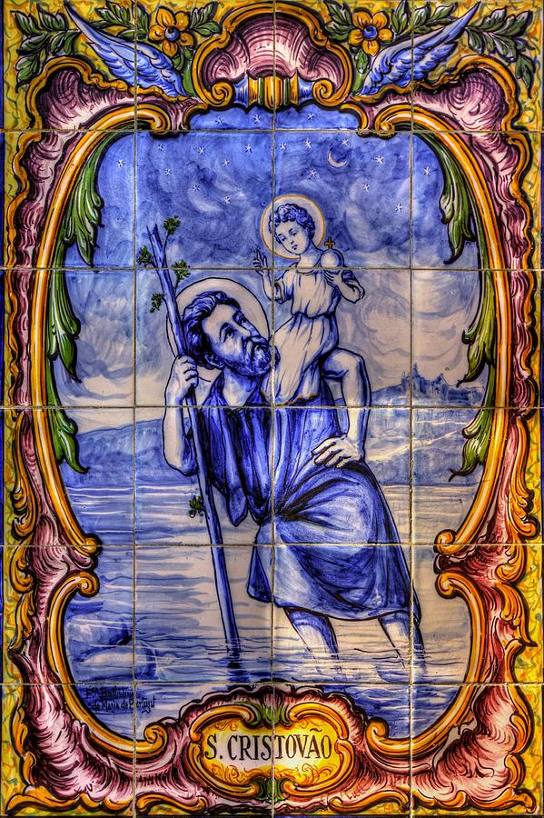 Saint Christopher Carrying The Christ Child Across The River - Near Entrance To The Carmel Mission Photograph  - Saint Christopher Carrying The Christ Child Across The River - Near Entrance To The Carmel Mission Fine Art Print