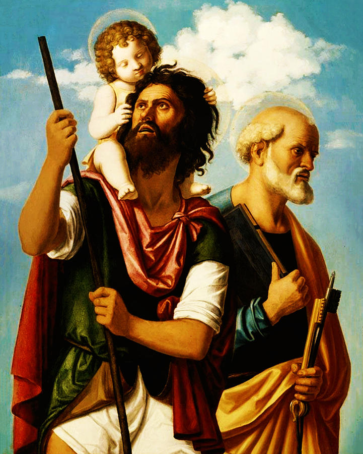 Saint Christopher With Saint Peter Painting  - Saint Christopher With Saint Peter Fine Art Print