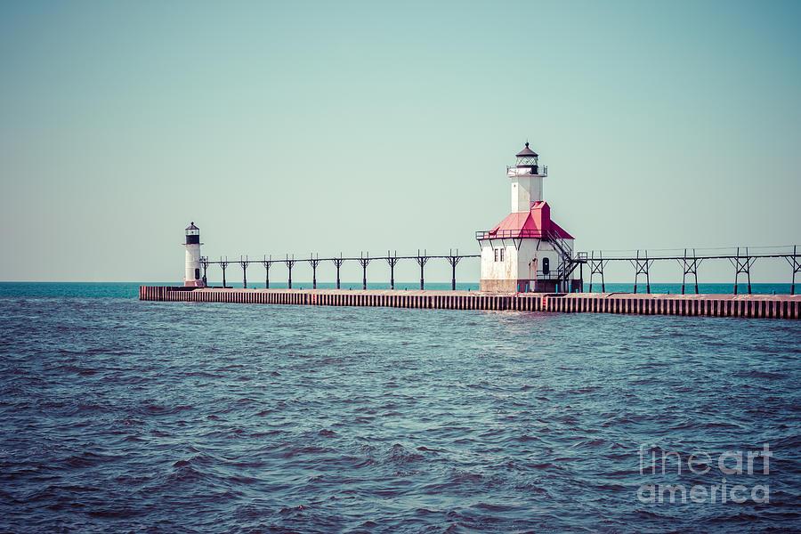Saint Joseph Michigan Lighthouse Retro Picture  Photograph