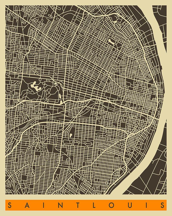 Saint Louis Map Digital Art