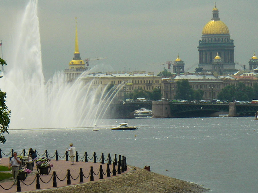 Saint Petersburg Skyline Neva River Fountains Russia Photograph
