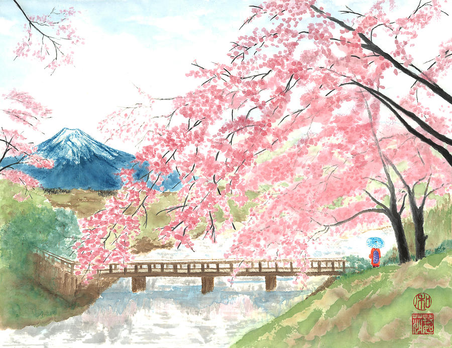 Japanese Painting - Sakura by Terri Harris