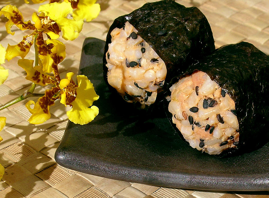 Salmon And Black Sesame Onigiri Photograph  - Salmon And Black Sesame Onigiri Fine Art Print