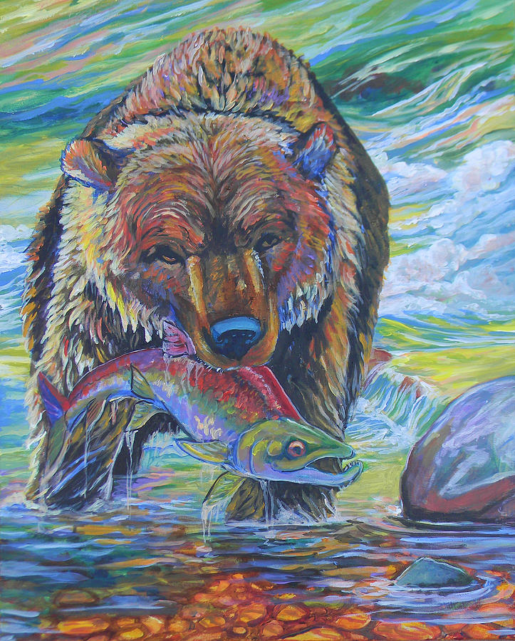 Salmon Fishing Grizzly Painting