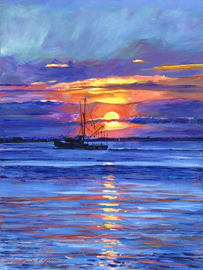 Salmon Trawler At Sunrise Painting By David Lloyd Glover