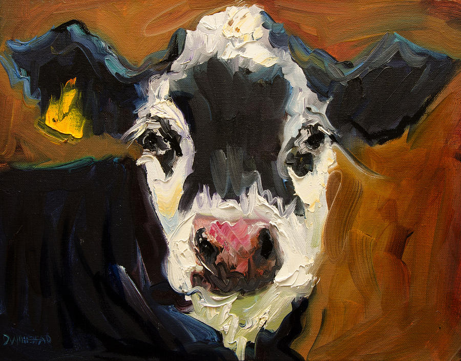 Salt and pepper cow by diane whitehead for Cow painting print