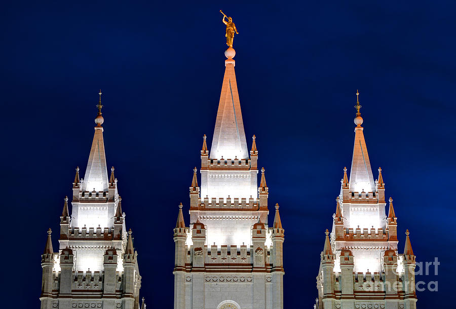 Salt Lake Lds Mormon Temple At Night Photograph