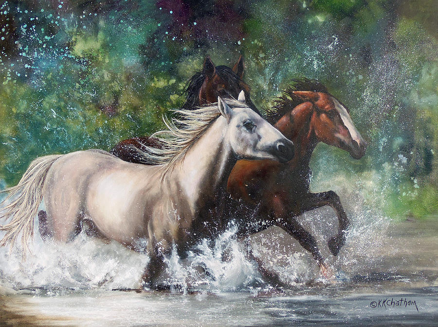 Wild Mustang Running Salt River  Greeting Cards Painting Framed Prints Acrylic Prints Equine Canvas Prints Texas Artist Karen Kennedy Chatham Art Wild Horses Metal Print Western Arizona River Scene Horses In Water Cowboy Office Decor Hospital Rustic Greeting Card Western Artist Christian Artist Horse Play Running Splashing Wild Mustang Painting Wild Mustang Framed Prints Wilds Mustang Canvas Prints Wild Horse Traditional Art Ft Worth Artist Wise County Artist Equine Artist Horse Portrait Cards Painting - Salt River Horseplay by Karen Kennedy Chatham