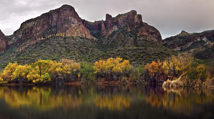 Pano Photograph - Salt River Mountain Reflections by Dave Dilli