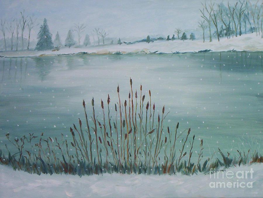Snow Painting - Saltville Pond by Julie Brugh Riffey
