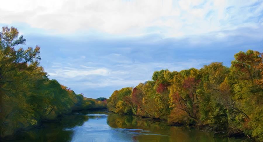 Saluda River In The Fall Painting