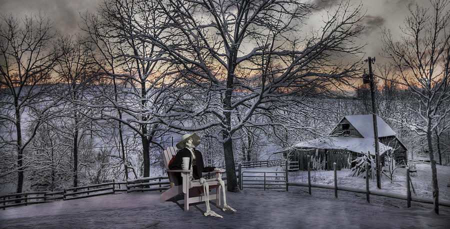Sam Visits Winter Wonderland Digital Art  - Sam Visits Winter Wonderland Fine Art Print