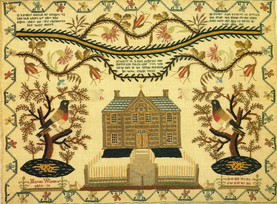 Original Sampler By Marion Wilson Circa 1840  Private Collection Tapestry - Textile - Sampler by Marion Wilson