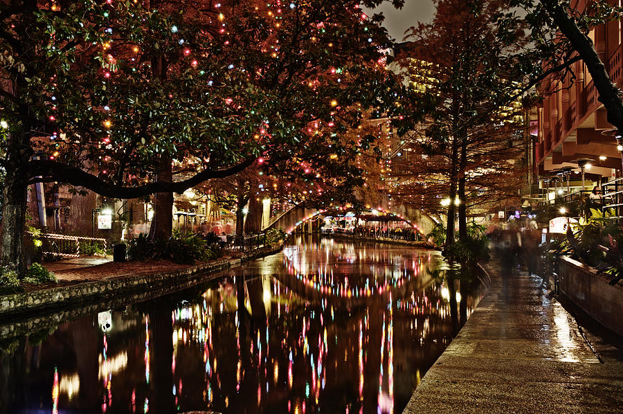 San Antonio Riverwalk Decorated With Shiny Lights At Night