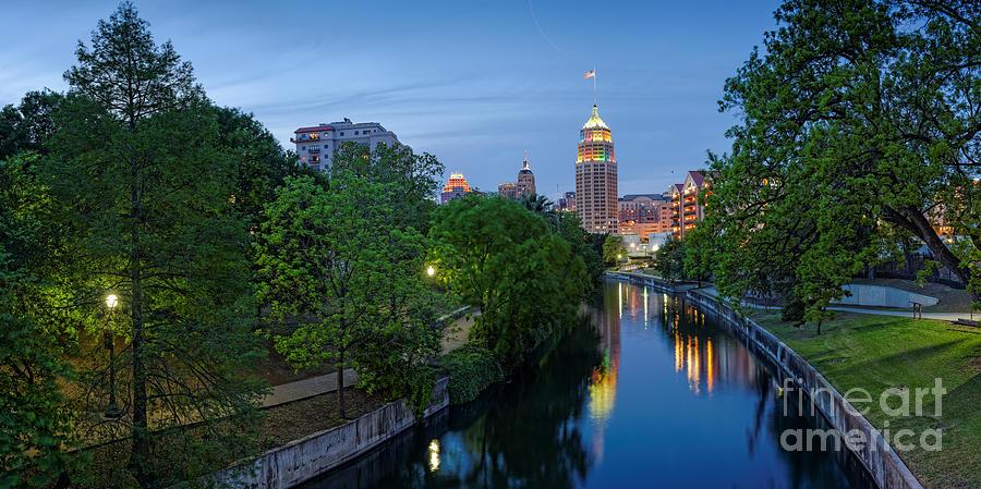 San Antonio Skyline Tower Life Building And Riverwalk From Cesar Chavez Boulevard - Texas Photograph