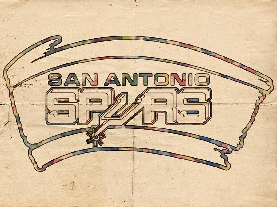 San Antonio Spurs Painting - San Antonio Spurs Logo Vintage by Florian Rodarte