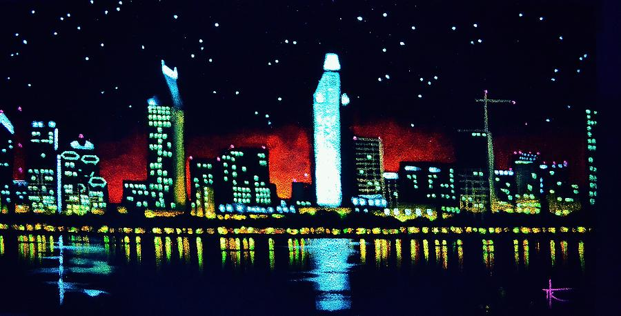 San Diego By Black Light Painting  - San Diego By Black Light Fine Art Print