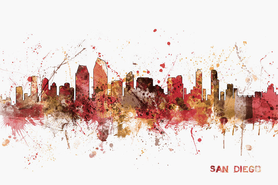 San Diego California Skyline Digital Art