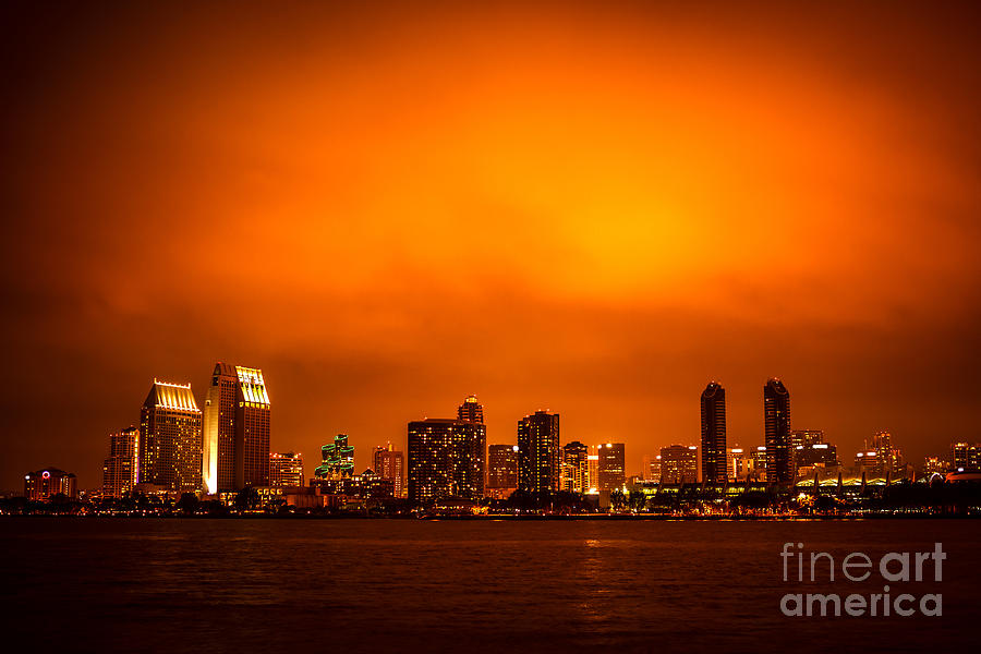 San Diego Cityscape At Night Photograph  - San Diego Cityscape At Night Fine Art Print