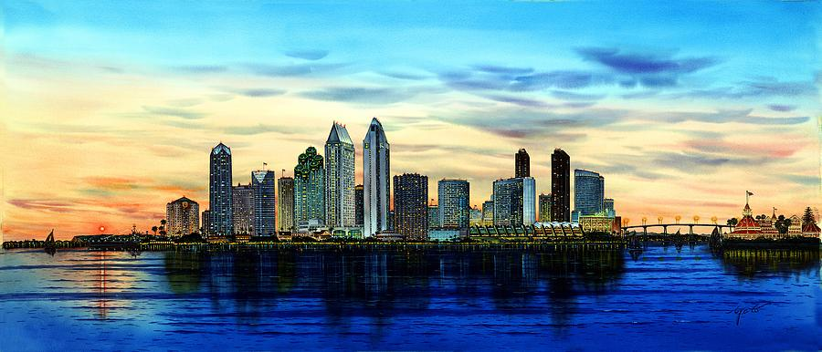 San Diego Skyline And Coronado At Dusk U S A Painting By