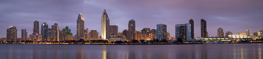 San Diego Skyline At Dusk Panoramic Photograph