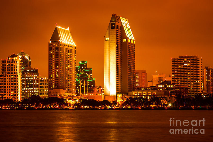 San Diego Skyline At Night Along San Diego Bay Photograph
