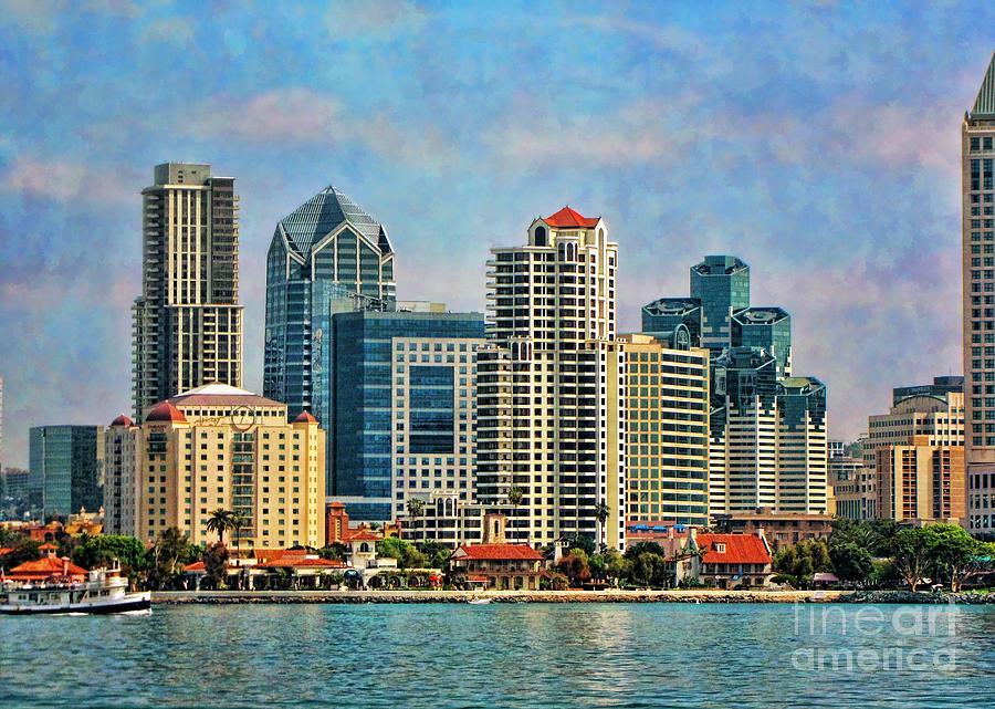 Painterly Photograph - San Diego Skyline by Peggy Hughes