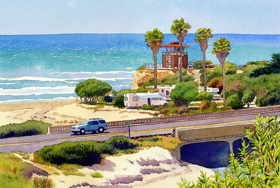 San Elijo Painting - San Elijo Campground Cardiff by Mary Helmreich