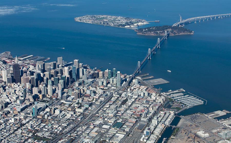 San Francisco Bay Bridge Aerial Photograph Photograph
