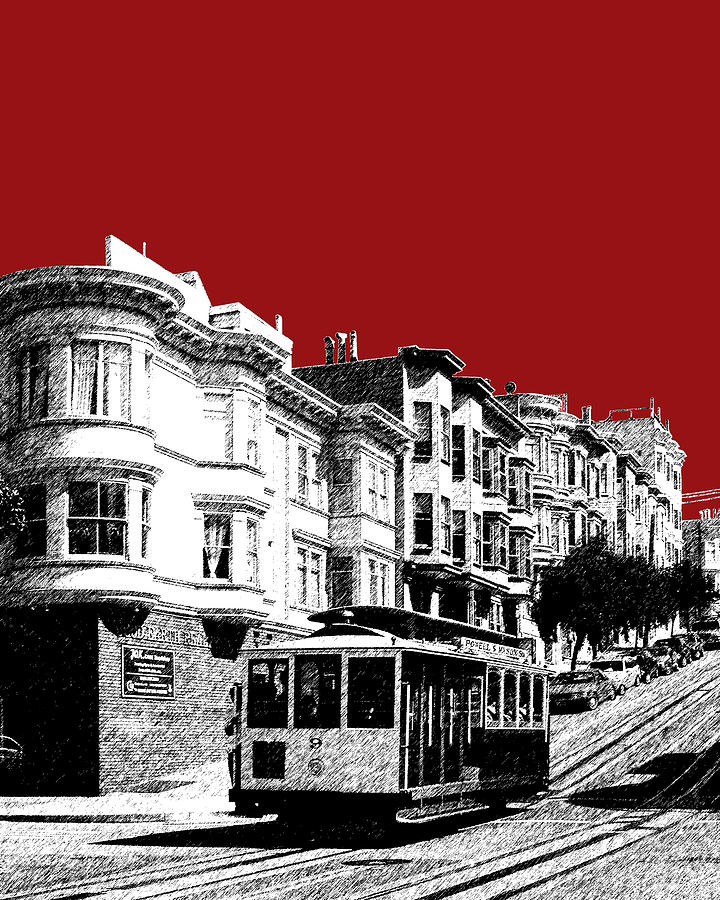 San Francisco Cable Car 2 Dk Red Digital Art  - San Francisco Cable Car 2 Dk Red Fine Art Print