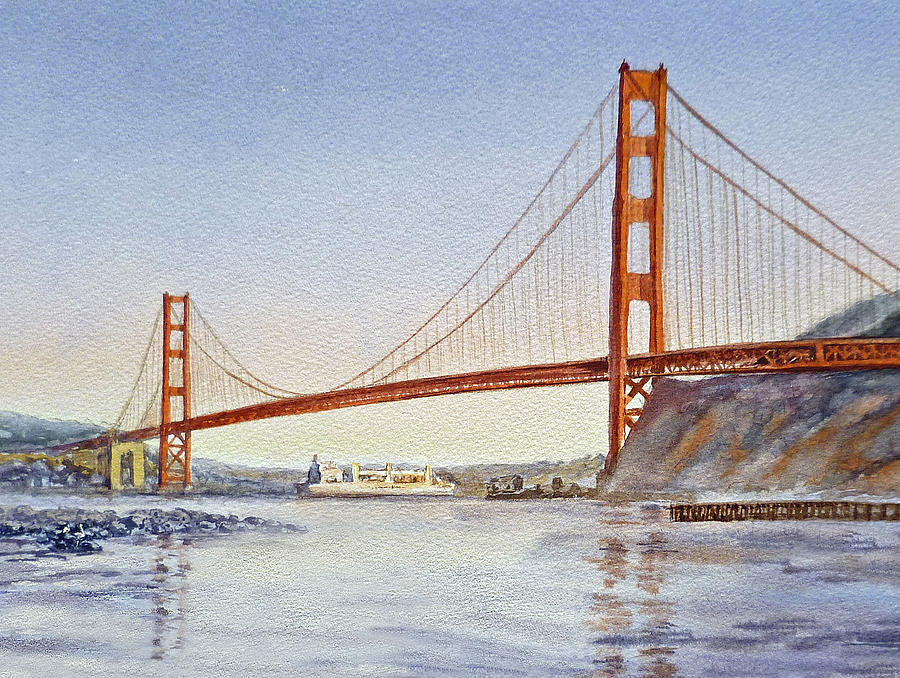 San Francisco California Golden Gate Bridge Painting  - San Francisco California Golden Gate Bridge Fine Art Print