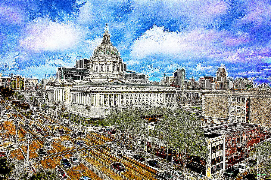 San Francisco Photograph - San Francisco City Hall 5d22507 Photoart by Wingsdomain Art and Photography