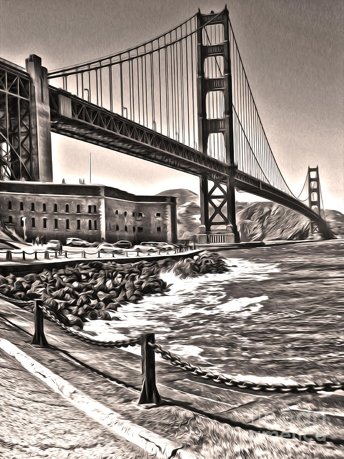 San Francisco - Golden Gate Bridge - 10 Painting  - San Francisco - Golden Gate Bridge - 10 Fine Art Print