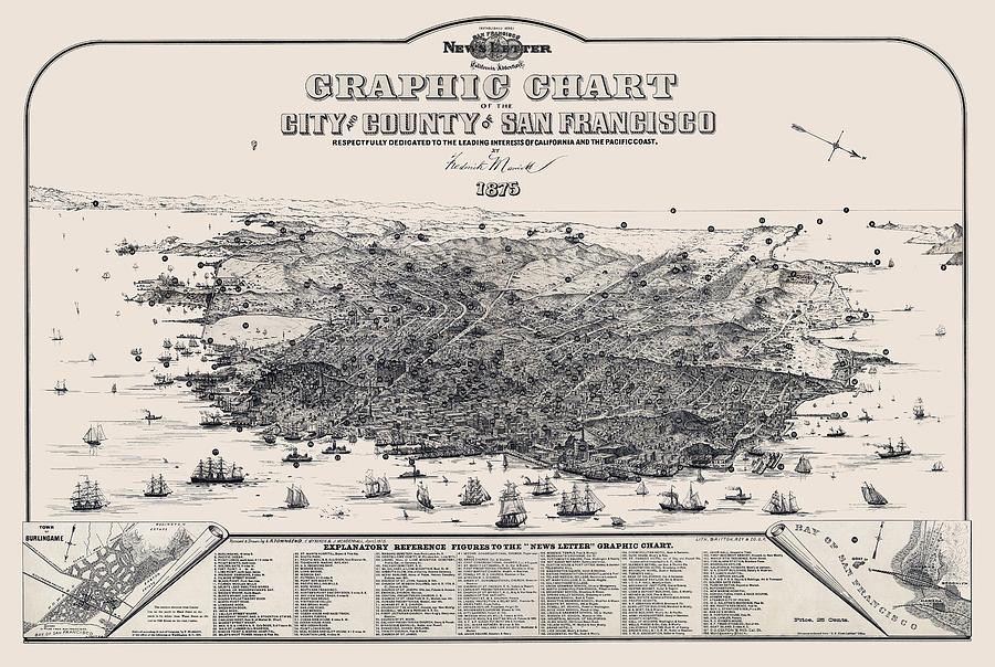 san Francisco Maps Photograph - San Francisco Graphic Map 1875 by Daniel Hagerman
