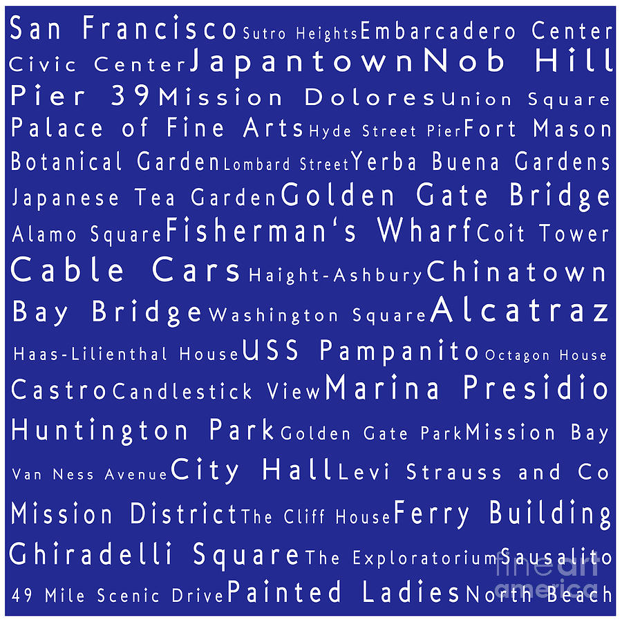 San Francisco In Words Blue Photograph