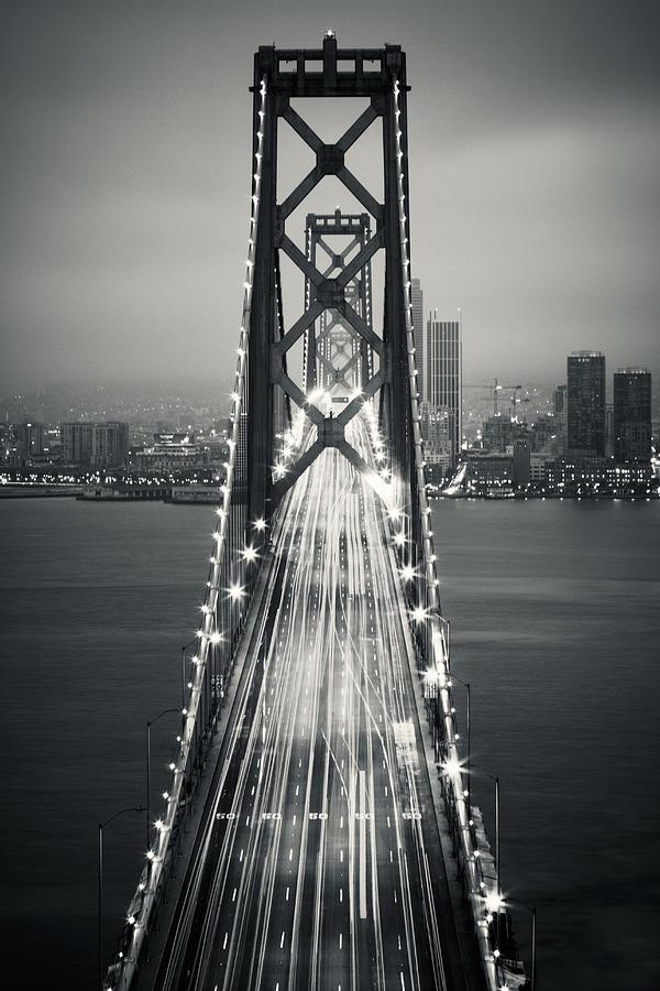 San Francisco - Oakland Bay Bridge Bw Photograph