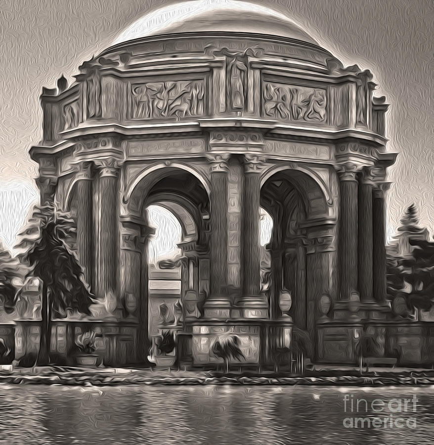 San Francisco - Palace Of Fine Arts - 01 Painting  - San Francisco - Palace Of Fine Arts - 01 Fine Art Print